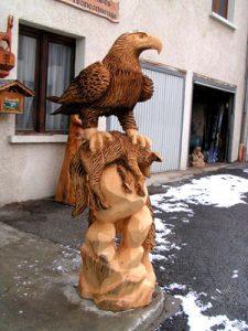 Sculpture bois - Aigle et renard